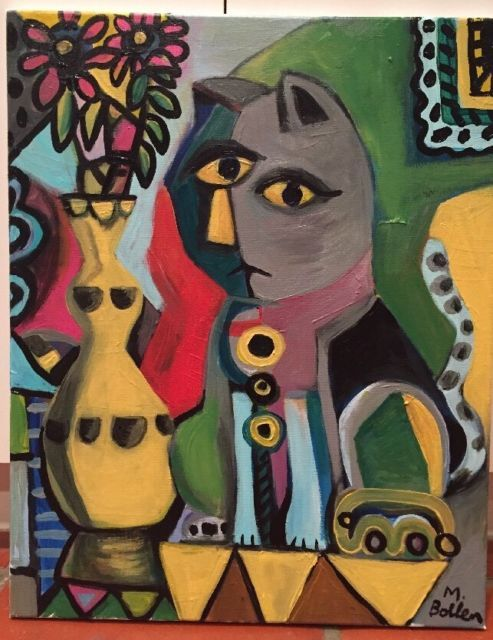 Picasso Style Original Cubist Painting By Melissa Bollen Cat Vase Red Green | eBay