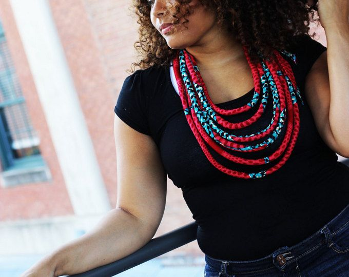 Collar africano africano collar Multistrand impresión, collar de cera africana, joyería africana, Ankara collar, collar, joyería africana la cuerda