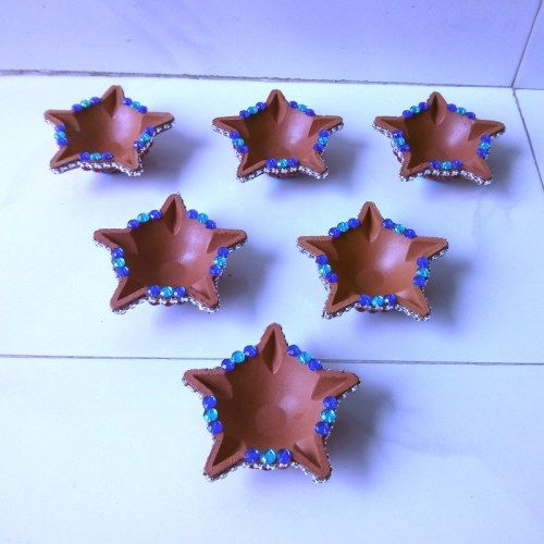 Decorative Diya (Star shape) 6 pice - Online Shopping for Diyas and Lights by Dipti Art & Craft