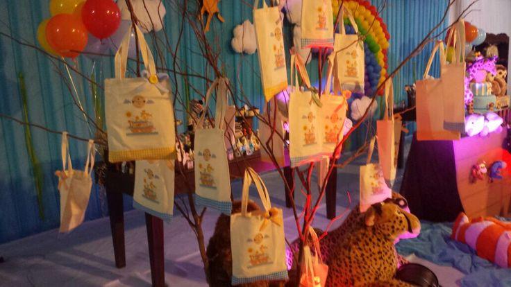Sacolas Ecobags para os doces, tema A Arca de Noé