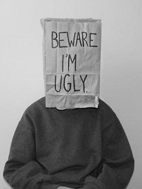 Het is een verdrietige maar ook weer grappige foto. Het is vervelend dat iemand zich zo voor zichzelf schaamt, maar om het nog even te verduidelijken met een zak over je hoofd vind ik toch wel weer humoristisch. De foto is ook minimalistisch, wat de kracht van de boodschap beter doet overkomen. Foto zou ook mooi zijn in kleur.