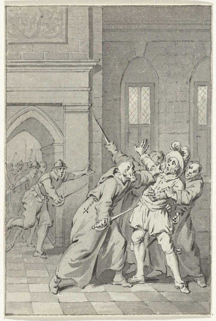 Jacobus Buys | De overrompeling van het Spaanse garnizoen op Slot Loevestein, 1570, Jacobus Buys, 1778 - 1795 | Herman de Ruiter met zijn mannen verkleed als monniken overvallen de slotvoogd en nemen het Slot Loevestein in, 9 december 1570. Ontwerp voor een prent.