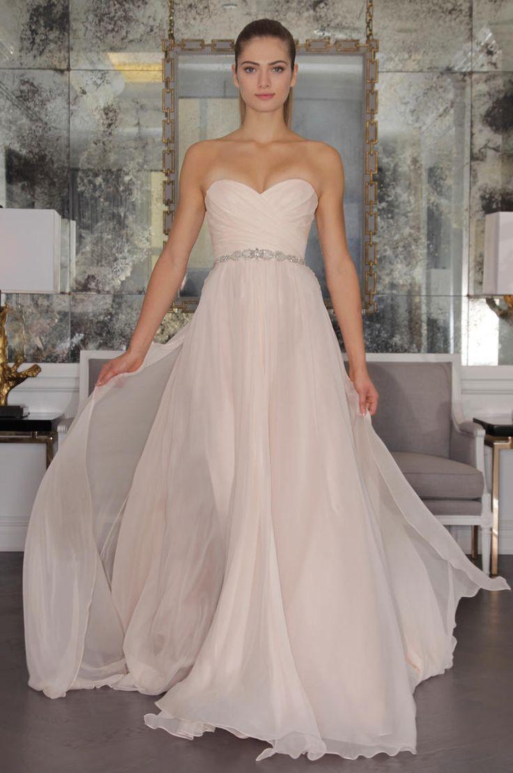 Romona Keveza 2016 blush wedding dress with sweetheart neckline, beaded belt and flowing full skirt | https://www.theknot.com/content/romona-keveza-wedding-dresses-bridal-fashion-week-2016