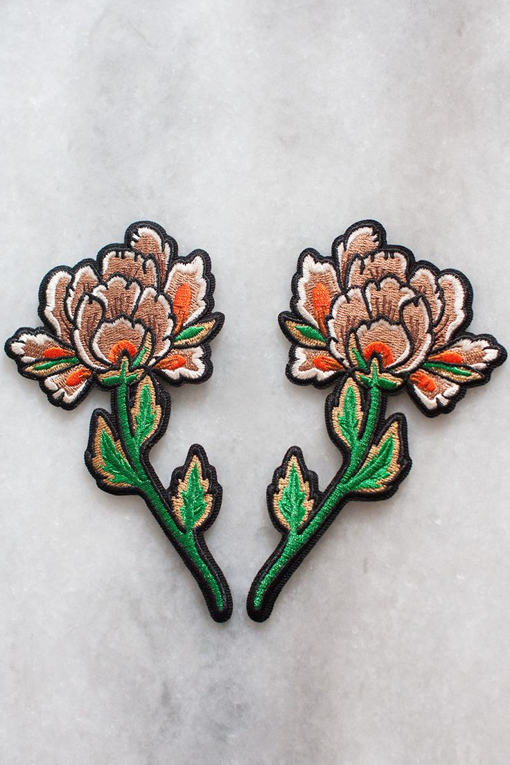 """Embroidered peony patches with iron-on backing can be used to frame and complement your other favourite patches - perfect on the back of a jacket! Each flower is approx. 5"""" high. They come as a set of"""