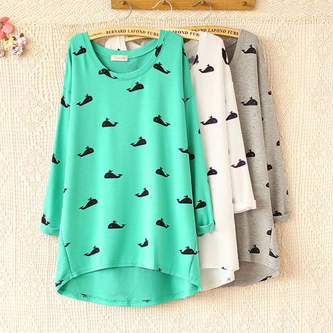 New long sleeve t shirts autumn and winter 2013/14 Harajuku Cute whale print sweater from women sweater coats boutique