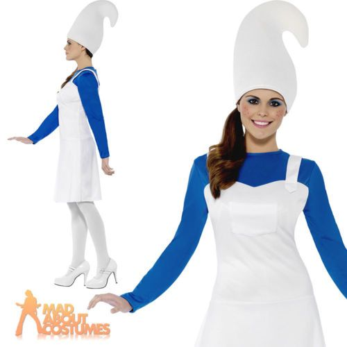 #Adult blue garden gnome costume ladies #smurf #fancy dress outfit new,  View more on the LINK: http://www.zeppy.io/product/gb/2/151946641299/