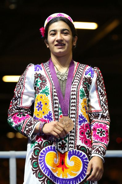 Bronze medalist Mavzuna Chorieva of Tajikistan celebrates during the medal ceremony for the Women's Light (60kg) Boxing final bout on Day 13 of the London 2012 Olympic Games at ExCeL on August 9, 2012 in London, England.
