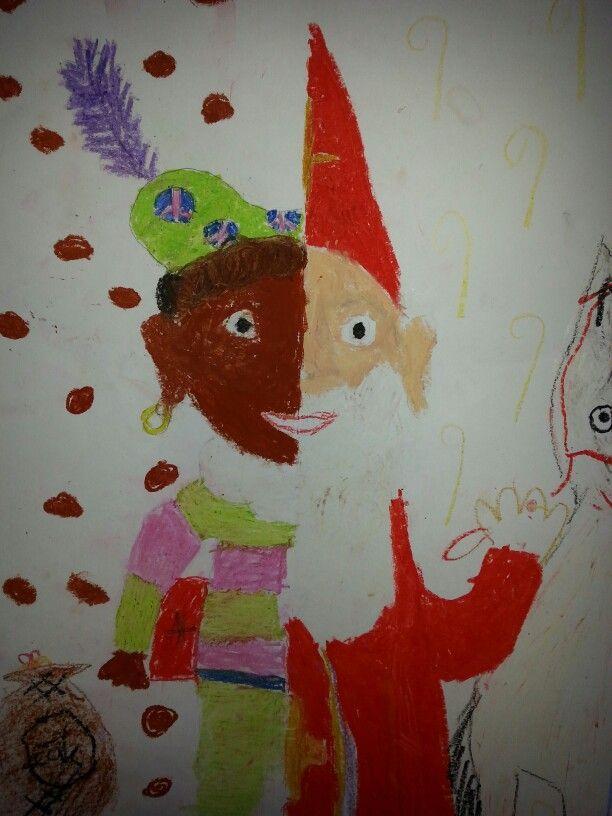 Deze tekening noem ik sinterpiet de éénen helf is door het éénen kind gemaakt en de anderen helft de het andere kind vandaar sinterpiet