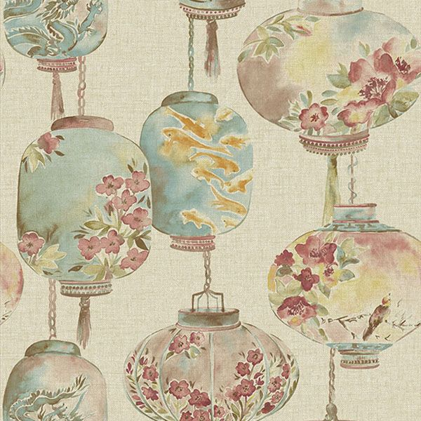 2669-21712 Beige Lantern Festival - Kana - Empress Wallpaper by Beacon House