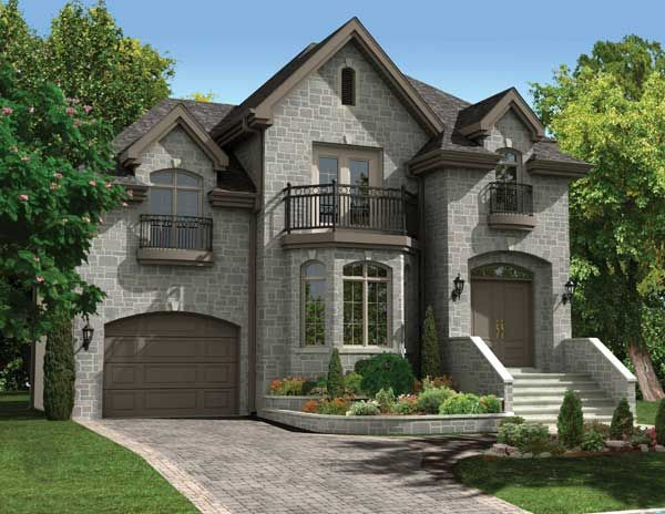 upper balconies add character to this 3 bedroom european style home european house plan - European House Plans