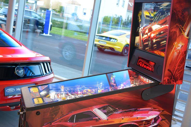 Red Dreams: Mustang Car and Pinball Machine