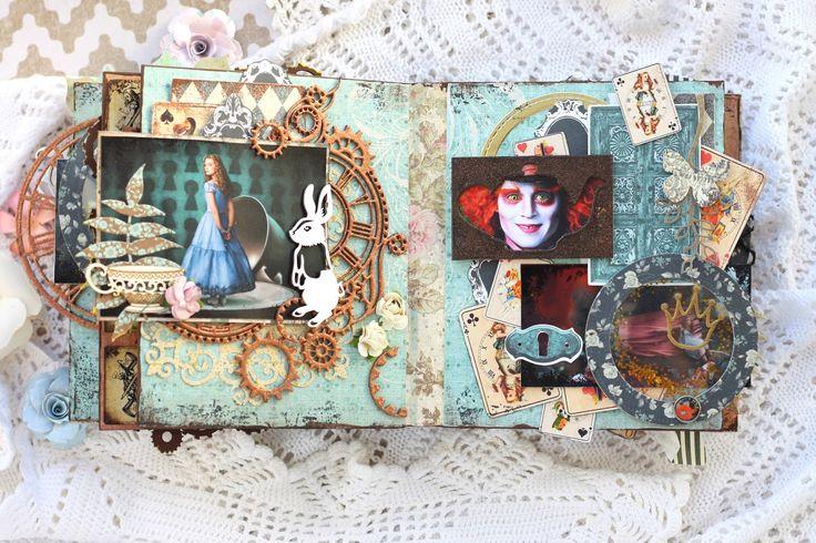 Алиса в стране чудес открытка скрапбукинг