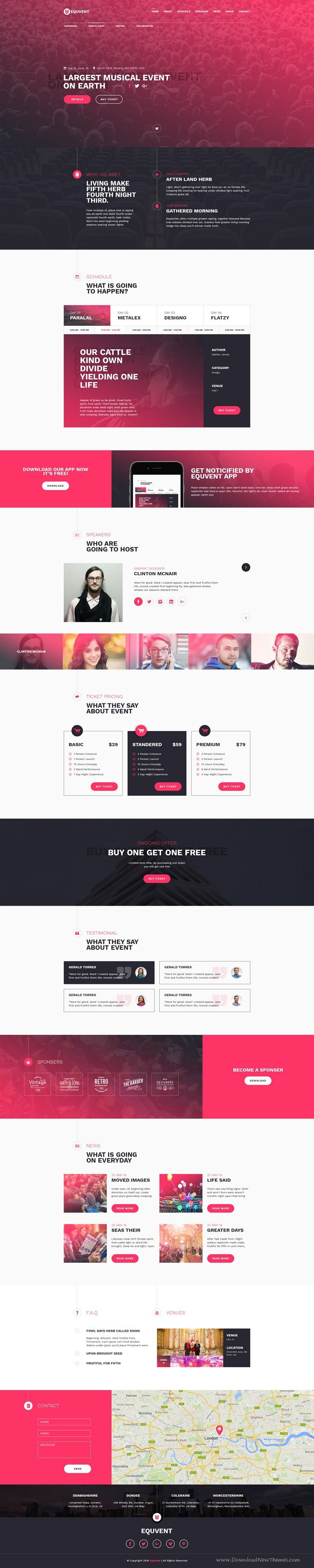 Equvent is Clean, Modern Landing Page #PSD template for any kind of #Event and Conference #website. Download Now!