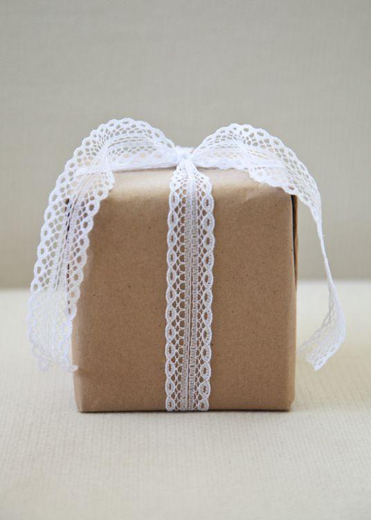 Simple brown kraft paper w/ lace ribbon