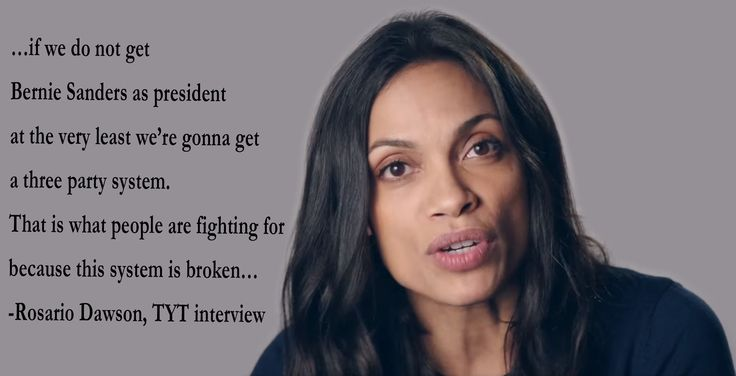 """""""…if we do not get Bernie Sanders as president, at the very least, we're gonna get a three party system. That is what people are fighting for because this system is broken…"""" – Rosario Dawson - More at: http://quotespictures.net/22859/if-we-do-not-get-bernie-sanders-as-president-at-the-very-least-were-gonna-get-a-three-party-system-that-is-what-people-are-fighting-for-because-this-system-is-broken"""