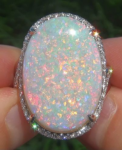 GIA 15.23 ct Natural Australian Opal Diamond 18k White Gold Estate Cocktail Ring