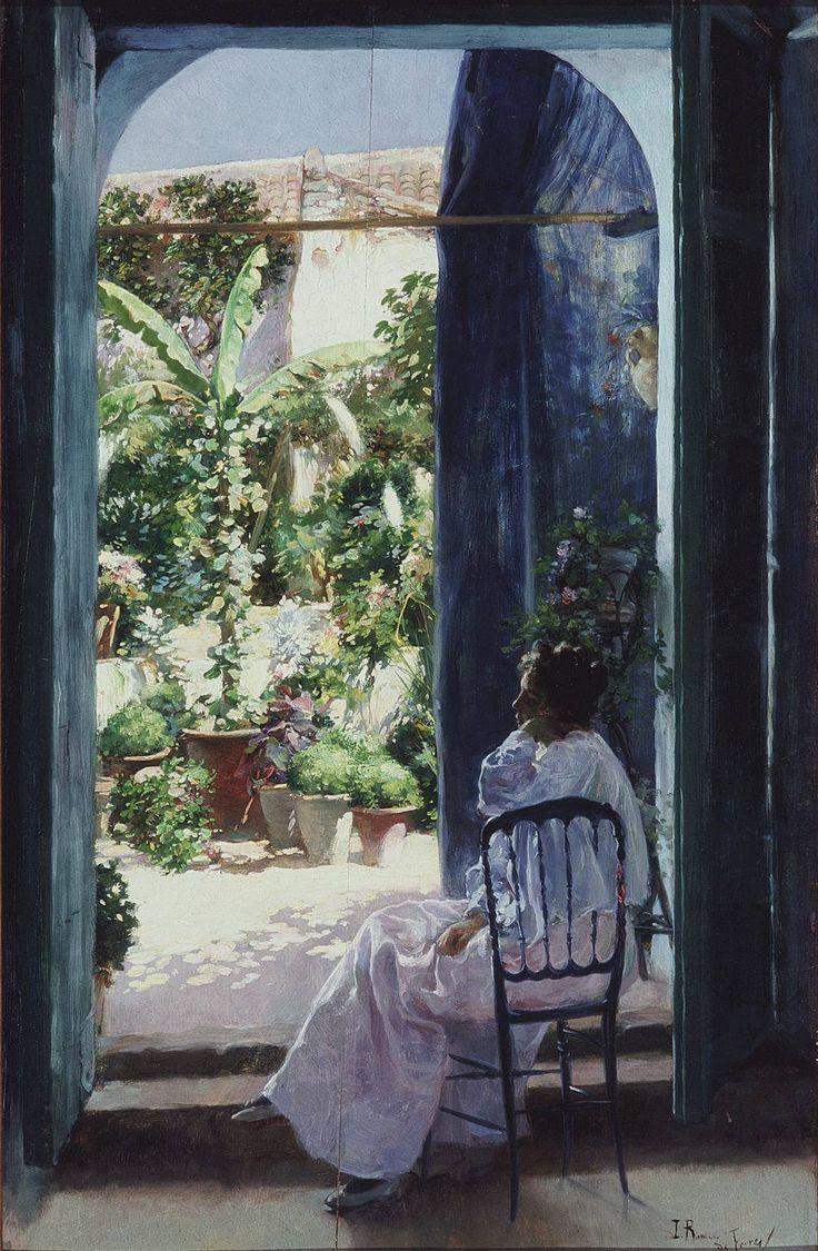 Un patio andaluz, Julio Romero de Torres, 1900 Peinture