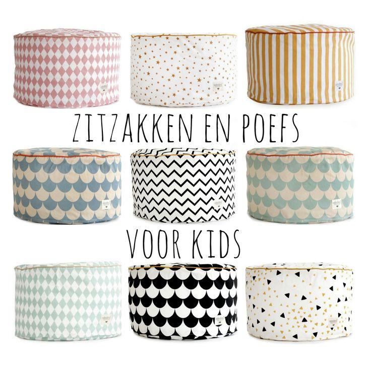 Voor jou gespot: de allerleukste zitzakken en poefs voor kinderen #kinderkamer #leukmetkids #babykamer #Nobodinoz bean bag kids room nursery pouf