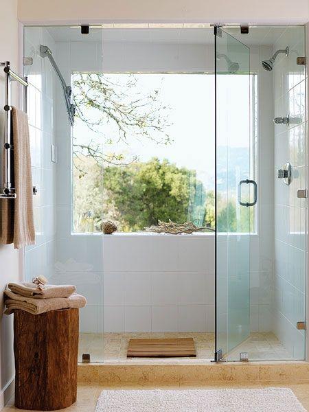 simple + stunningSeaside Decor, Modern Bathroom Design, Big Windows, Shower Doors, The View, Glasses Shower, Glasses Doors, Design Bathroom, Bathroom Windows