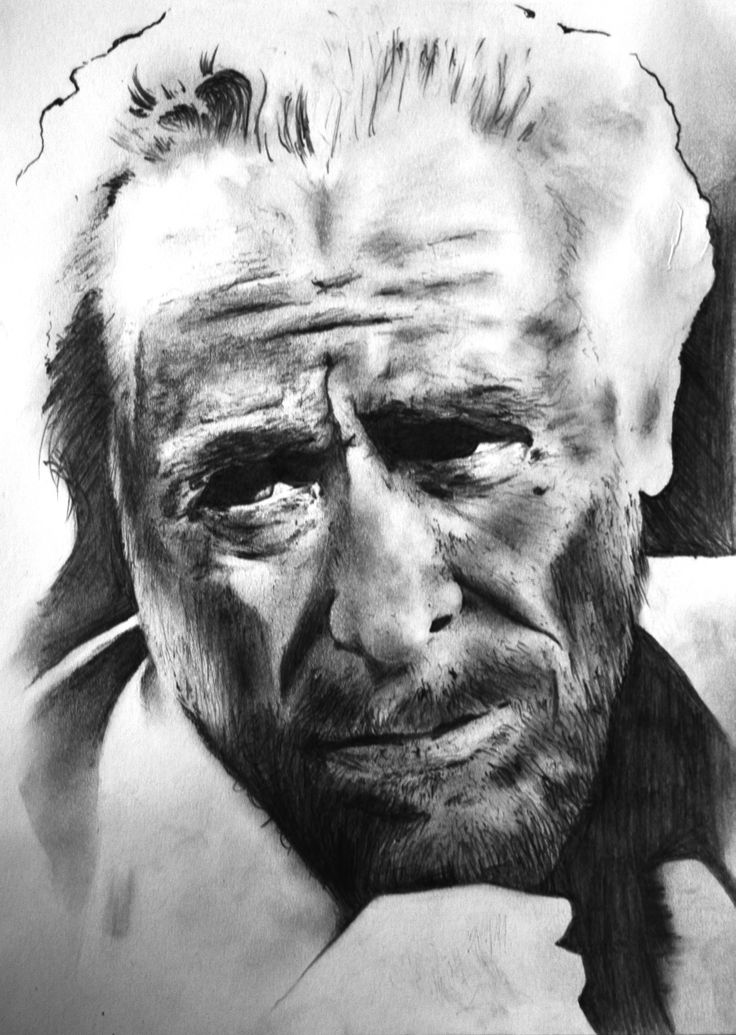 Dibujo a lápiz sobre papel de Charles Bukowski.
