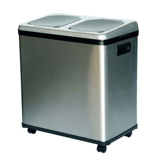 Itouchless 16 Gallon Dual Compartment Stainless Steel Kitchen Recycle Bin Trash Can