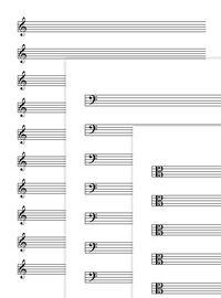 Pentagramas en blanco con clave de sol, clave de fa, clave de do, para flauta y todos los instumentos