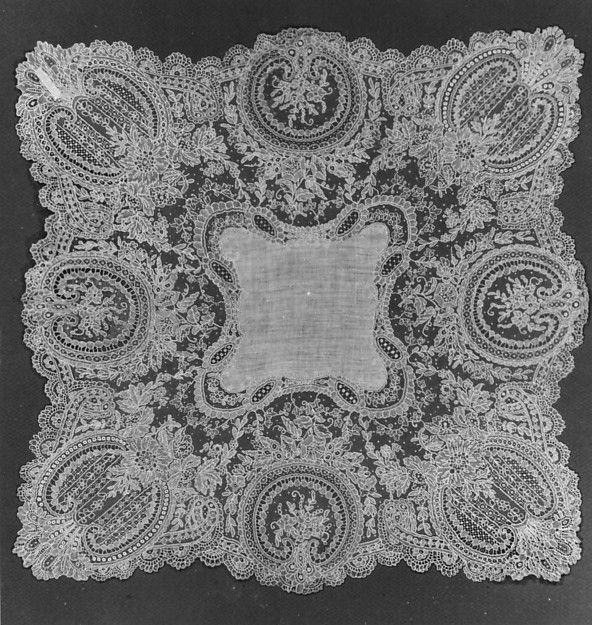 Handkerchief Date: 19th century Culture: Belgian (Brussels) Medium: Linen, needle lace