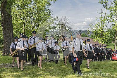 Volunteer fire brigade orchestra in voillage Roznow in Poland . Europe.