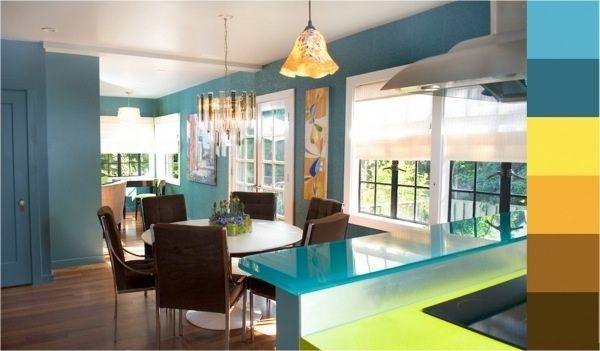 Aqua And Yellow Kitchen