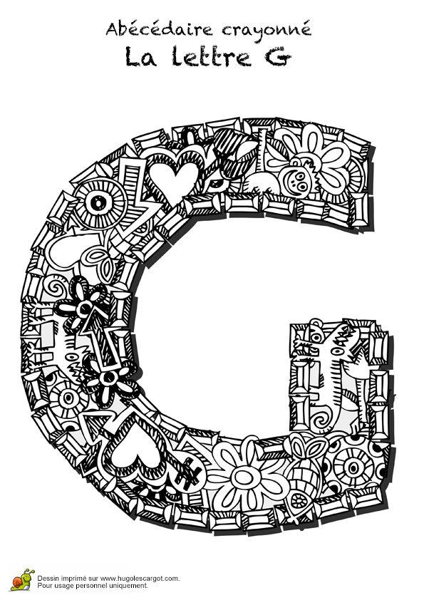 Coloriage abecedaire crayonne lettre g sur Hugolescargot