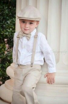 Beige and white ring bearer outfit