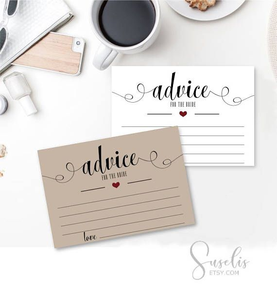 Advice Cards for the Bride Printable Bridal Shower Wedding