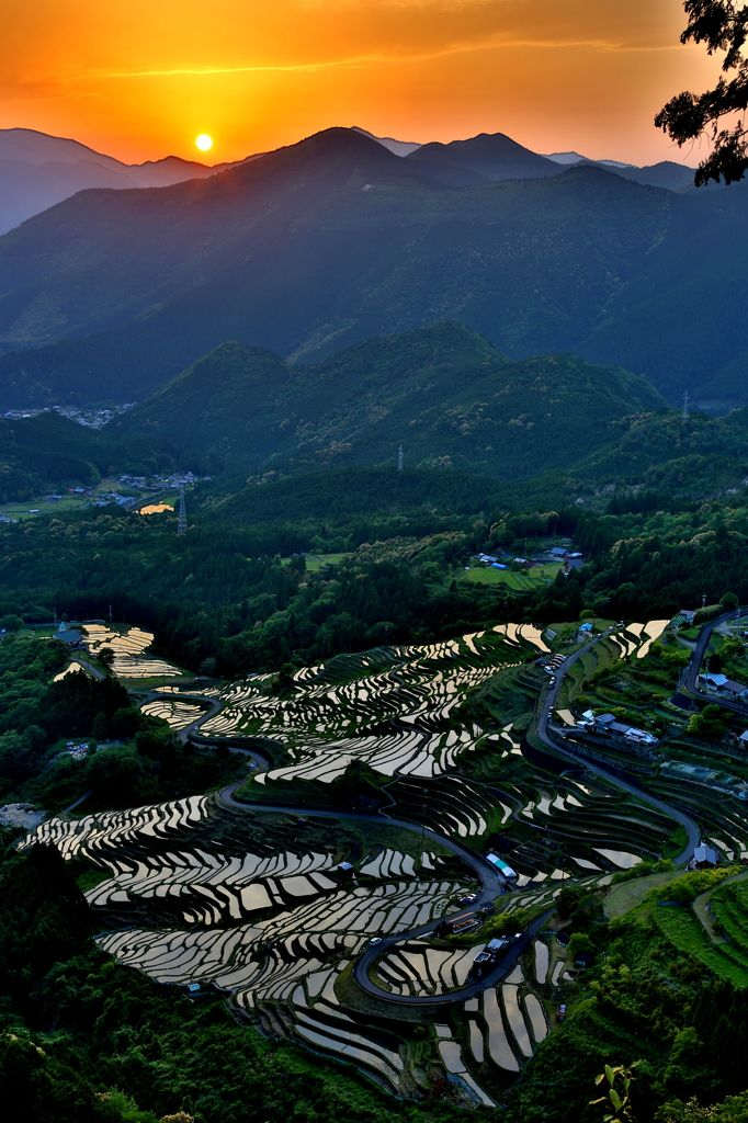 Sunset in Maruyama senmaida-Terraced rice fields, Kumano, Mie, Japan