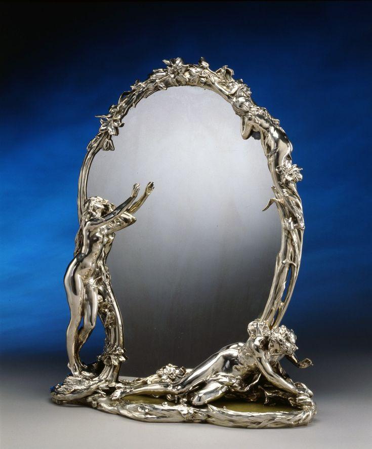 """AN ART NOUVEAU TOILET MIRROR ENTITLED """"LA MÉTAMORPHOSE DE NARCISSE"""" BY CHRISTOFLE À PARIS AFTER A MODEL BY RENÉ ROZET, PARIS, DATE CIRCA 1900 Christofle René Rozet Fully hallmarked Solid silver and green marble Height 77 cm. (1 of 2)"""