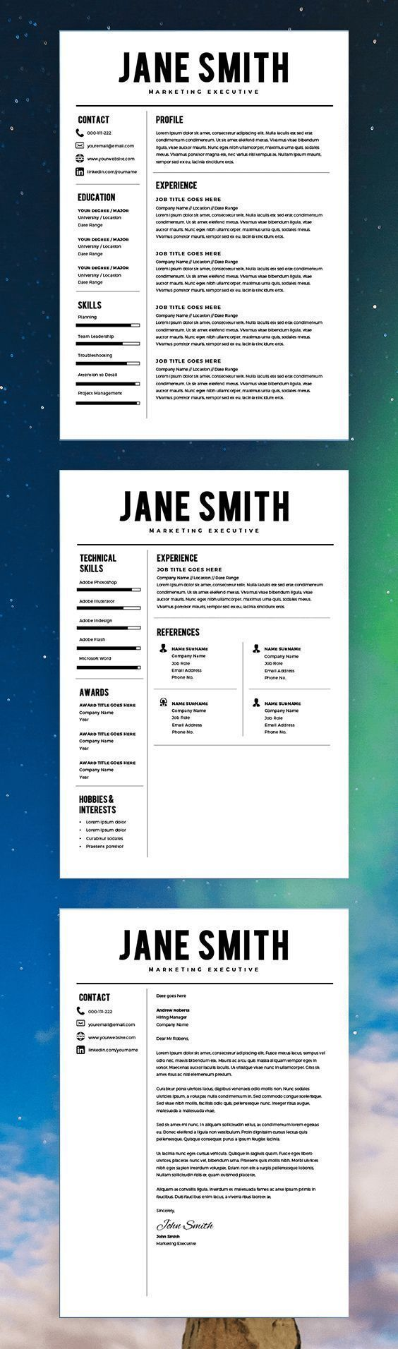 Best Resume Template - CV Template - Free Cover Letter - MS Word on Mac / PC - Professional Design Best Resume Templates - Instant Download