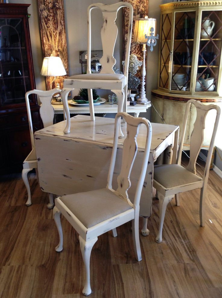 Solid Cherry Drop Leaf Table And Hand Made Chairs Painted