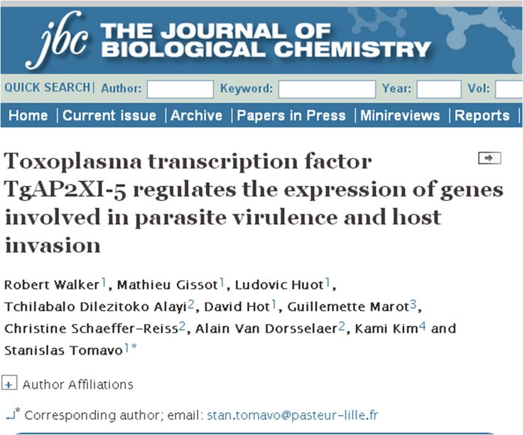 Publication from Institut Pasteur de Lille, France citing Genotypic 's services The Journal of Biological chemistry, 2013 Toxoplasma transcription factor TgAP2XI-5 regulates the expression of genes involved in parasite virulence and host invasion Robert Walker, Mathieu Gissot, Ludovic Huot, Tchilabalo Dilezitoko Alayi, David Hot, Guillemette Marot, Christine Schaeffer-Reiss, Alain Van Dorsselaer, Kami Kim and Stanislas Tomavo Genotypic Thanks all the authors for citing Genotypic Technology