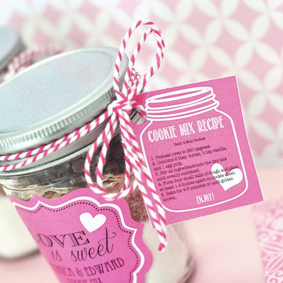 "Mason Jar cookie mix for bridal shower favors. So cute! ""Love is sweet"""