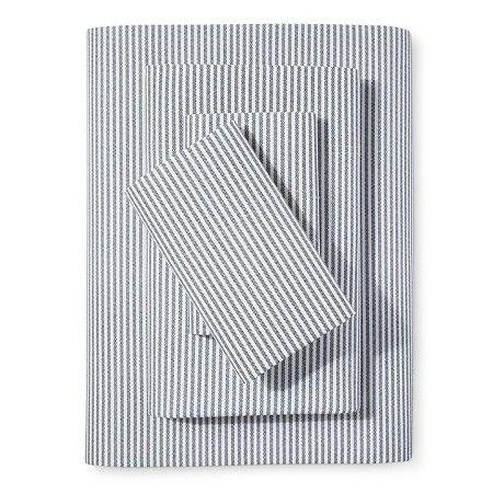 Percale Stripe Sheet Set Navy (Twin) - Threshold™ : Target