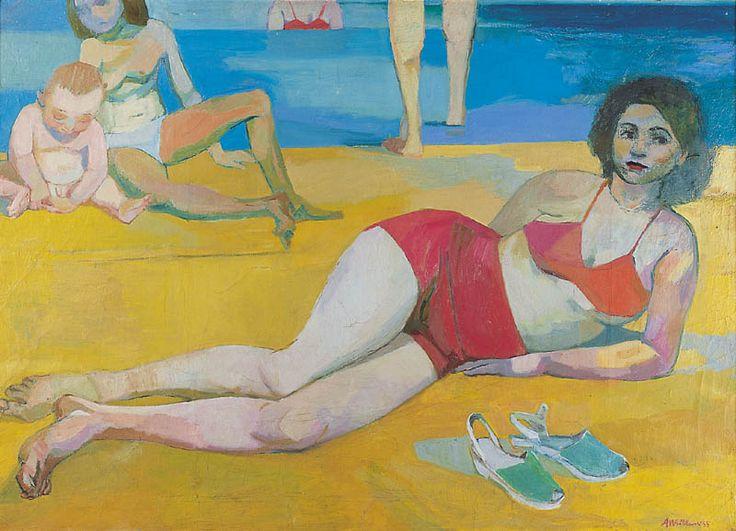 Andrzej Wróblewski - Plaża 1955, olej, płótno.