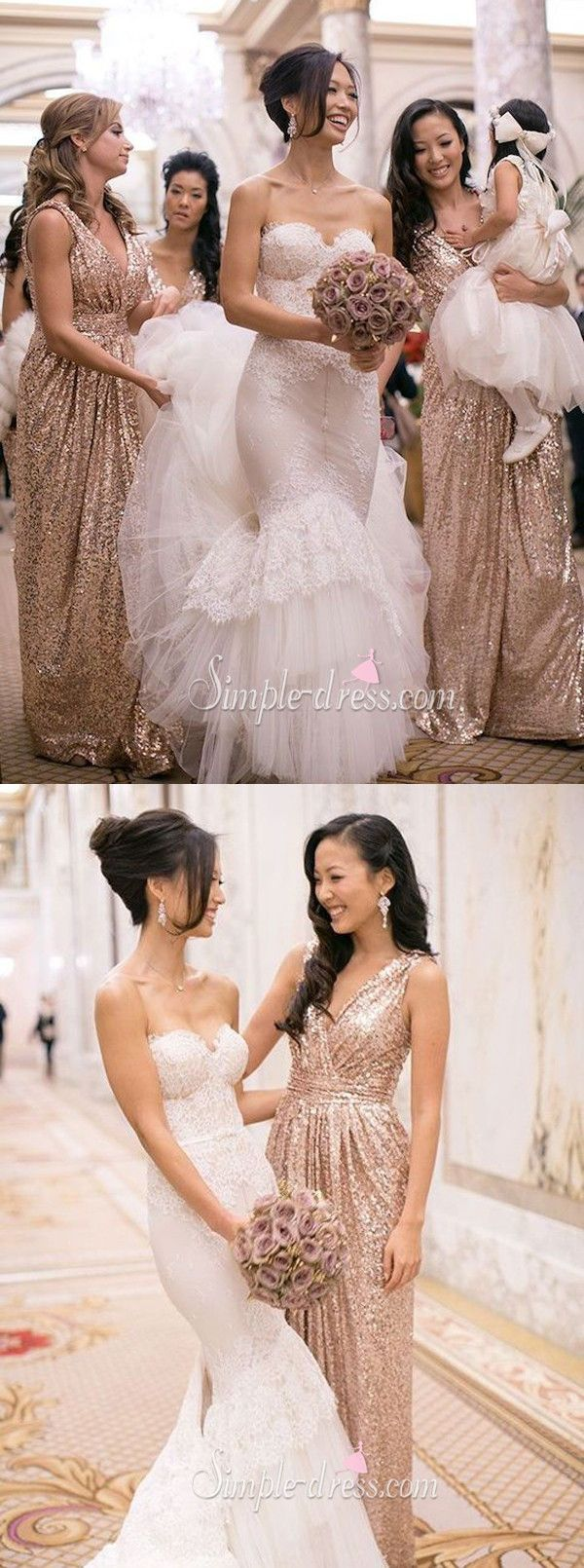 2016 bridesmaid dresses, long bridesmaid dresses, sequined bridesmaid dresses, v-neck bridesmaid dresses
