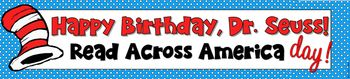 This cute and colorful 5-page banner is easy to print and hang in your classroom in honor of Read Across America Day and Dr. Seuss's birthday. It's 42 inches in length (or 5 pages) I didn't put the year on it, so you can use it year after year if you'd like.