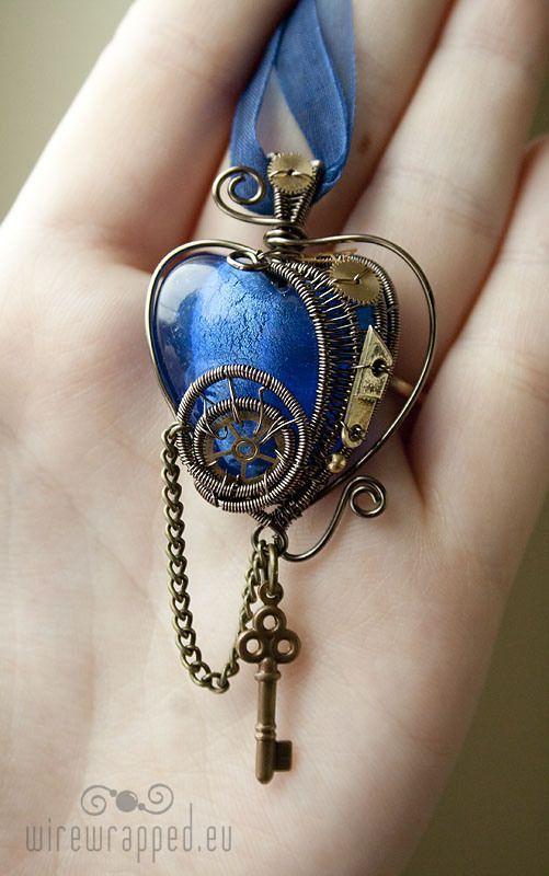 Steampunk heart with a key