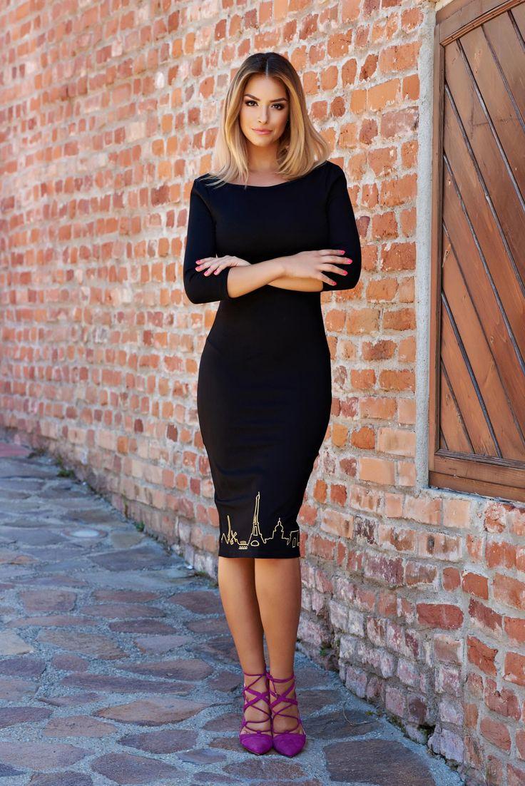 Comanda online, Rochie StarShinerS Brodata Bonjour Belle Hot Move Black. Articole masurate, calitate garantata!