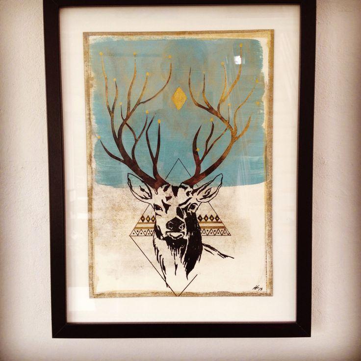 Unika Paperwork with deer. 30x40 cm. Made by me, Anne Mette Harkes.