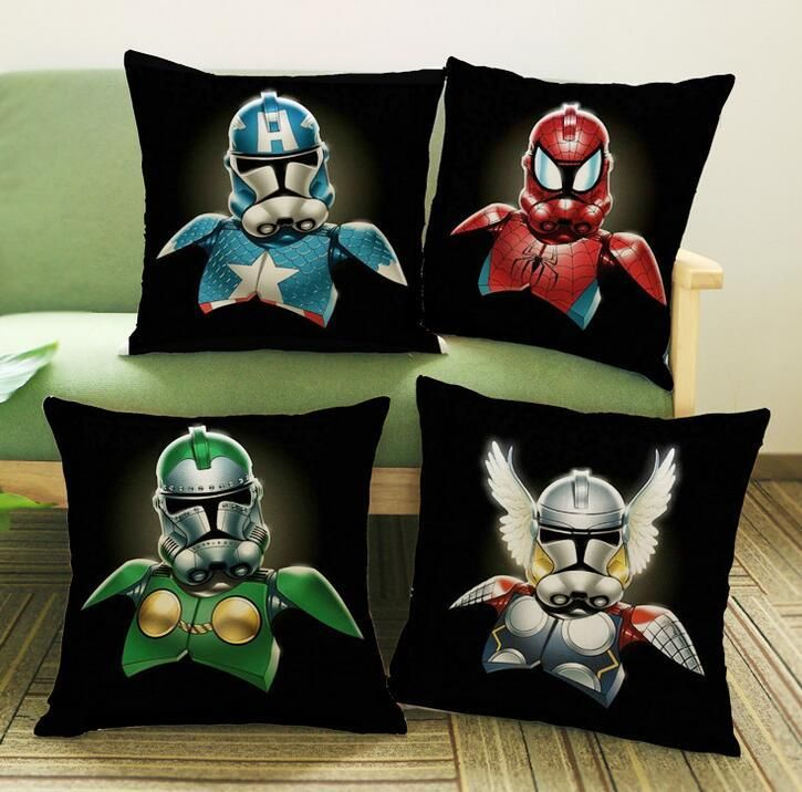 45 * 45CM Star Wars Printing Cotton Pillow Home Sofa Bed Linen Cushion  Covers Backrest Halloween Gifts