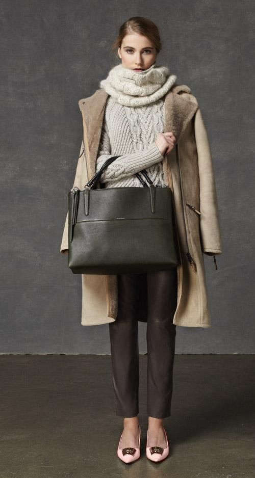 The Look: the Long Shearling Moto Coat, the Handknit Aran Crewneck, and the Large Borough Bag in Pebbled Leather from Coach