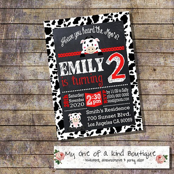 Cow birthday party invitation chalkboard cow red by myooakboutique