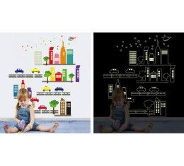 Luminous City wall sticker available at www.kidzdecor.co.za. Free postage throughout South Africa