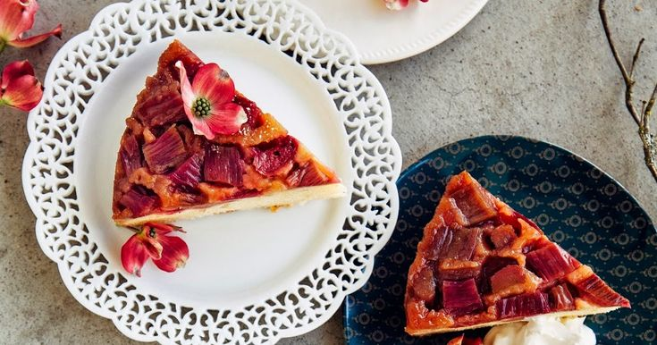 A recipe for rhubarb and marzipan upside down cake from Hummingbird High.